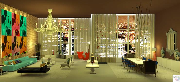 O Salão do loft: Salas de estar  por Rangel & Bonicelli Design de Interiores Bioenergético