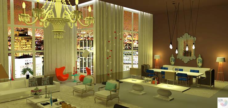 O Salão do loft: Salas de jantar  por Rangel & Bonicelli Design de Interiores Bioenergético