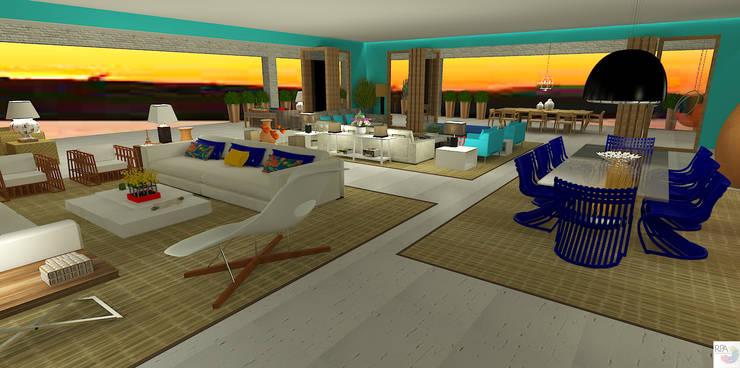A casa de praia: Salas de estar  por Rangel & Bonicelli Design de Interiores Bioenergético
