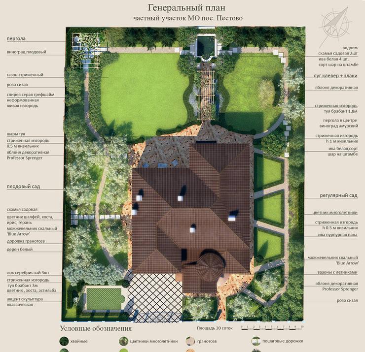 Генеральный план. Ландшафтный дизайн-проект частного сада.: Сады в . Автор – Руслан Михайлов rmgarden