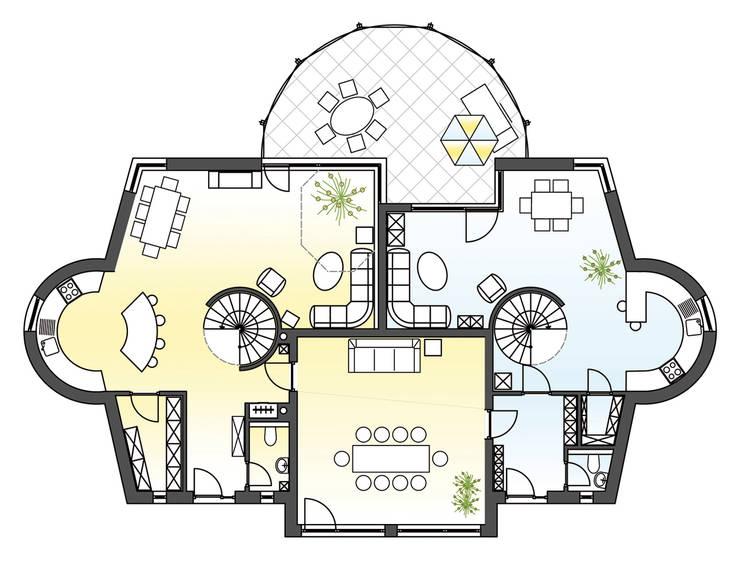 Grundriss Erdgeschoss:  Wohnzimmer von Architekturbüro Martin Raffelt