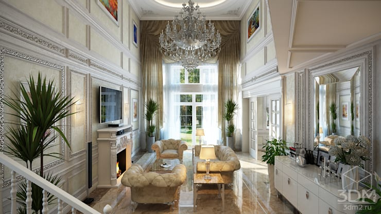 Проект 031: интерьер частного дома: Гостиная в . Автор – студия визуализации и дизайна интерьера '3dm2'