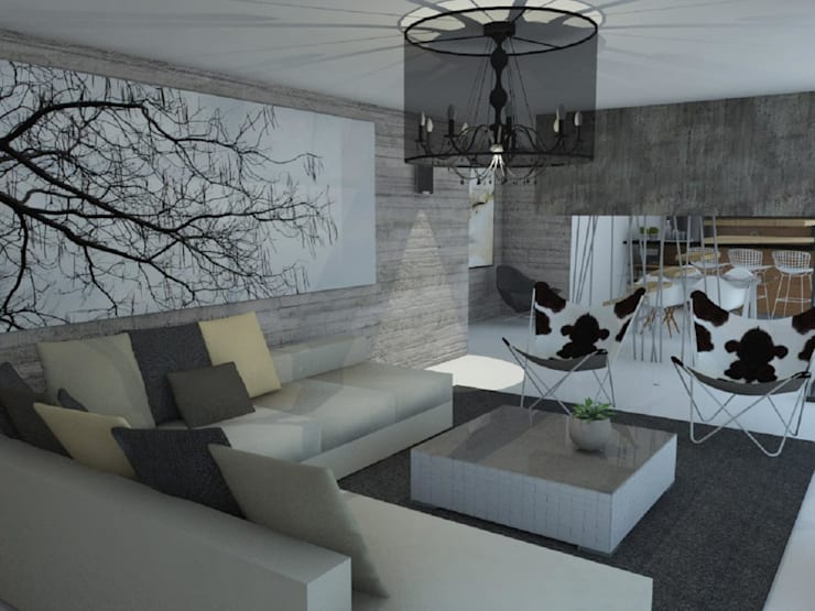 Casa Mirador en Chile: Livings de estilo moderno por GANDIA ARQUITECTOS