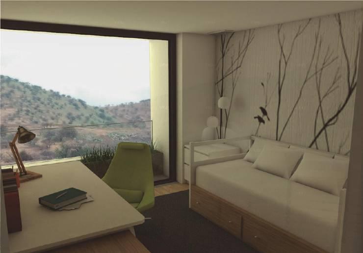 Casa Mirador en Chile: Estudios y oficinas de estilo moderno por GANDIA ARQUITECTOS