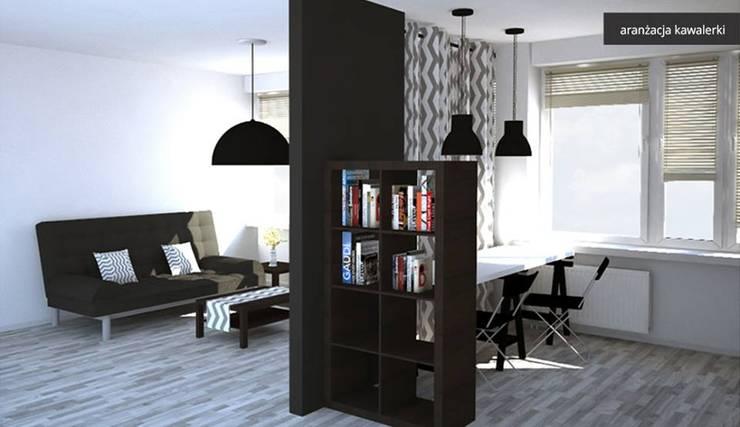 projekt kawalerki: styl , w kategorii Salon zaprojektowany przez kreARTywni_ studio projektowe,