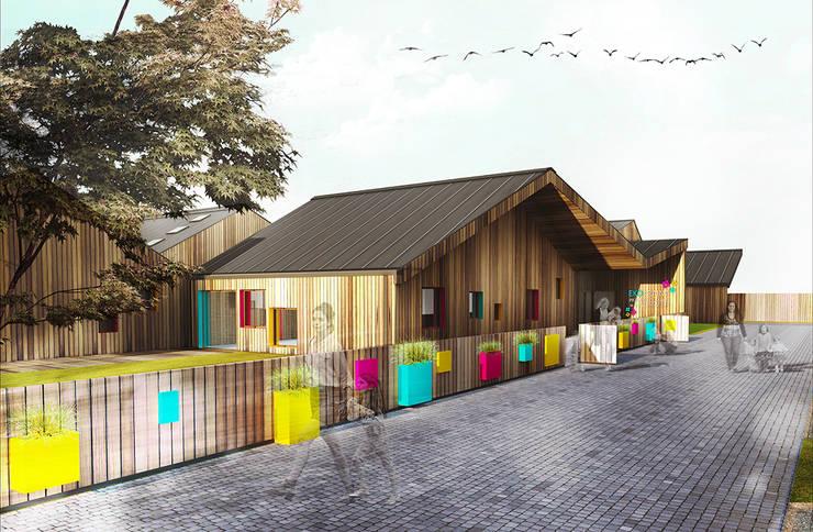 Elewacja przedszkola: styl , w kategorii Szkoły zaprojektowany przez kreARTywni_ studio projektowe,Nowoczesny Drewno O efekcie drewna