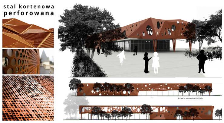 projekt elewacji dla budynku szkoły podstawowej: styl , w kategorii Szkoły zaprojektowany przez kreARTywni_ studio projektowe,Nowoczesny Matal