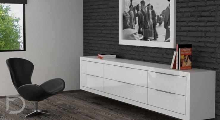 Habitación monocromática.: Recámaras de estilo  por ESTUDIO FD