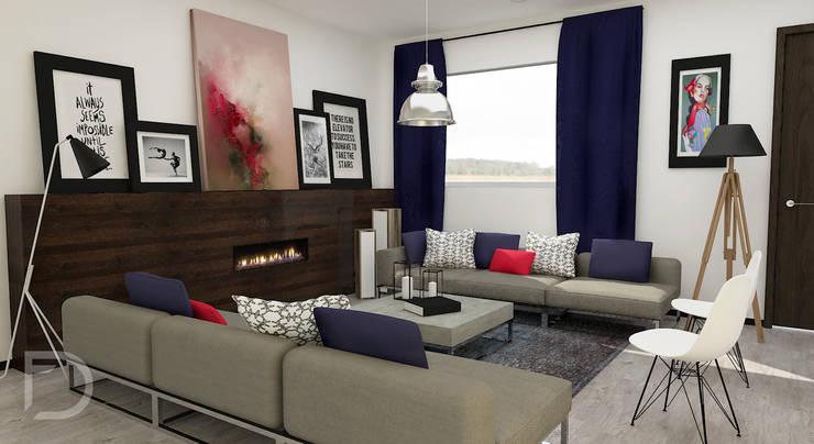 Sala con chimenea.: Salas de estilo  por ESTUDIO FD
