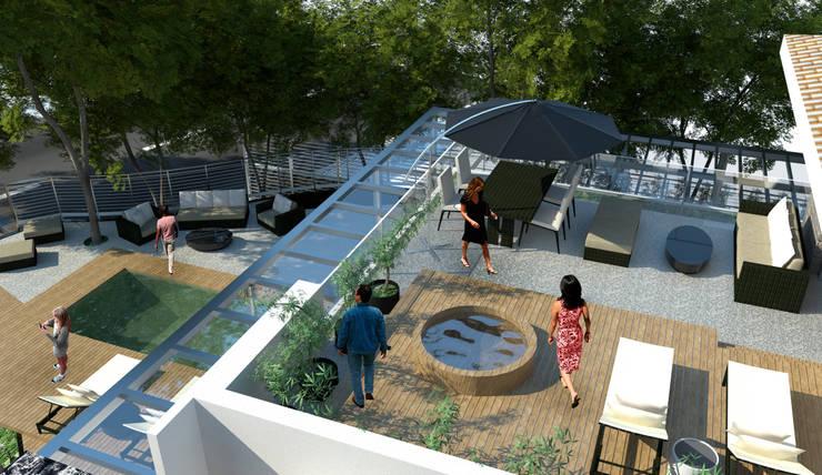 Terraço privativo: Casas  por Paula Werneck Arquitetura,Moderno