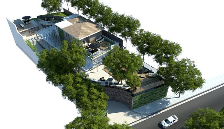 Vista aérea: Jardins  por Paula Werneck Arquitetura,Rústico