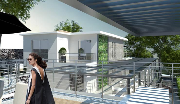 Varanda Fundos: Terraços  por Paula Werneck Arquitetura,Rústico