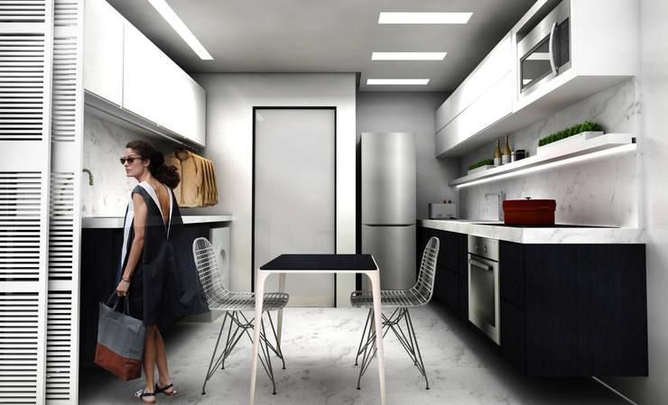 Cozinha + Lavanderia: Cozinhas  por Paula Werneck Arquitetura