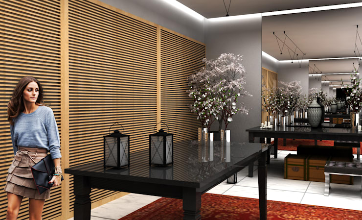 Salão Principal: Salas de estar  por Paula Werneck Arquitetura