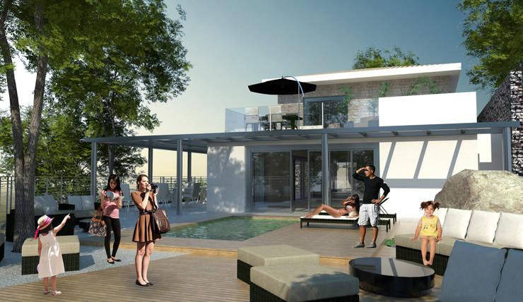 Terraço: Terraços  por Paula Werneck Arquitetura,Rústico