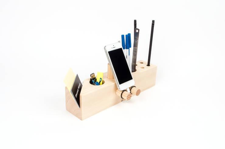 핸드폰거치대 연필꽂이 Venti (Desk Organizer Venti): Orange Wood의