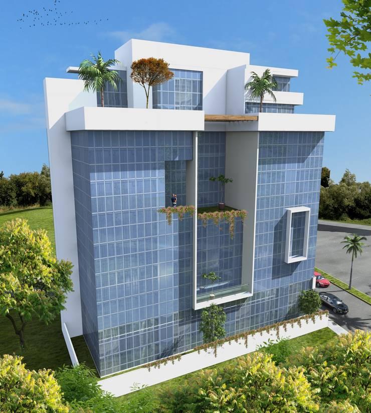 Fachada Lateral Casas minimalistas de Milla Arquitectos S.A. de C.V. Minimalista Vidrio