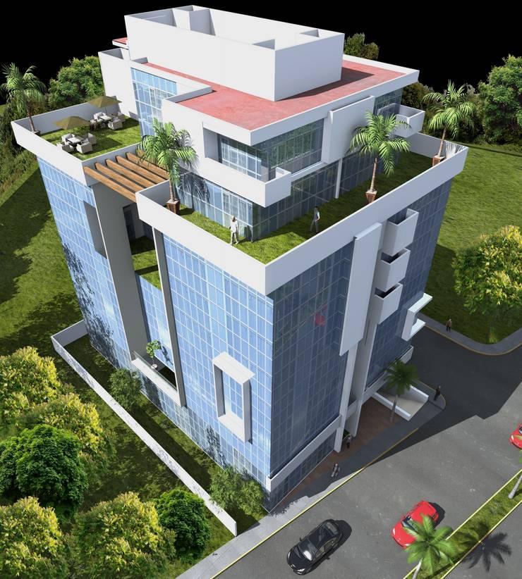 Zona de Penthouses Casas minimalistas de Milla Arquitectos S.A. de C.V. Minimalista Vidrio