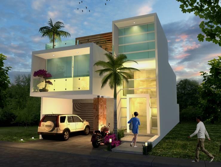 Fachada nocturna: Casas de estilo  por Milla Arquitectos S.A. de C.V.