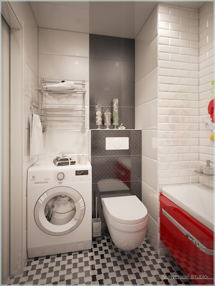 Апартаменты в стиле Поп-Арт: Ванные комнаты в . Автор – ООО 'ИНТЕРИОР'