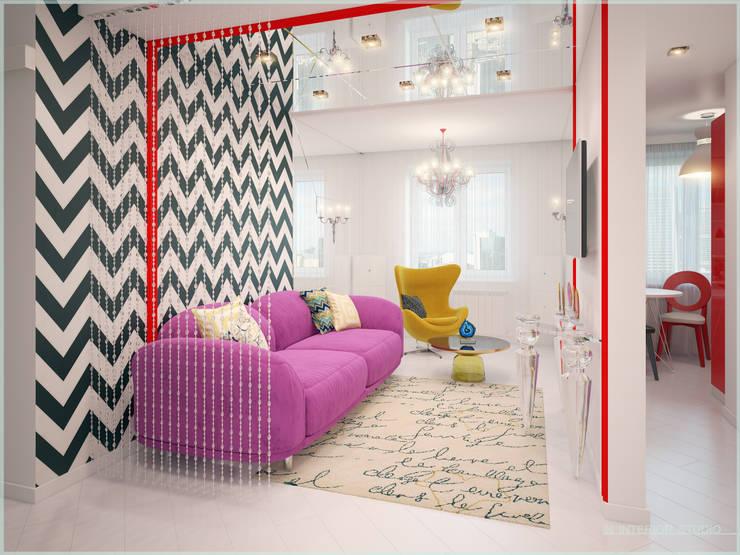 Апартаменты в стиле Поп-Арт: Гостиная в . Автор – ООО 'ИНТЕРИОР'