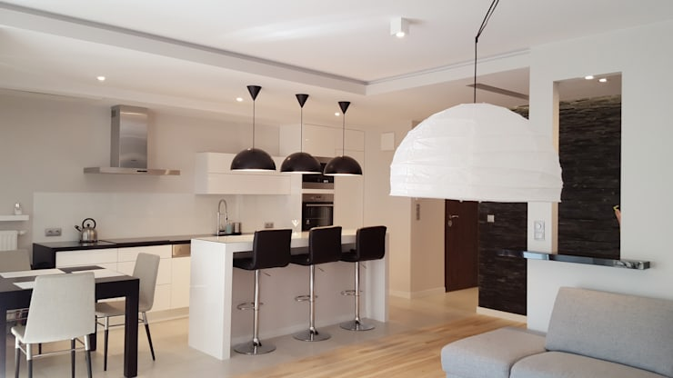 Widok na kuchnię z salonu: styl , w kategorii Kuchnia zaprojektowany przez Project Art Joanna Grudzińska-Lipowska,Nowoczesny