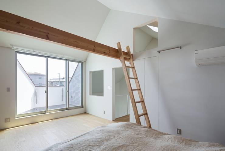 浜竹の家 House in Hamatake: 一級建築士事務所 本間義章建築設計事務所が手掛けた寝室です。