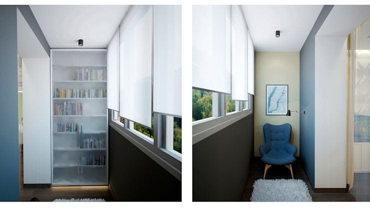 балкон: Tерраса в . Автор – Архитектурная мастерская 'SOWA',