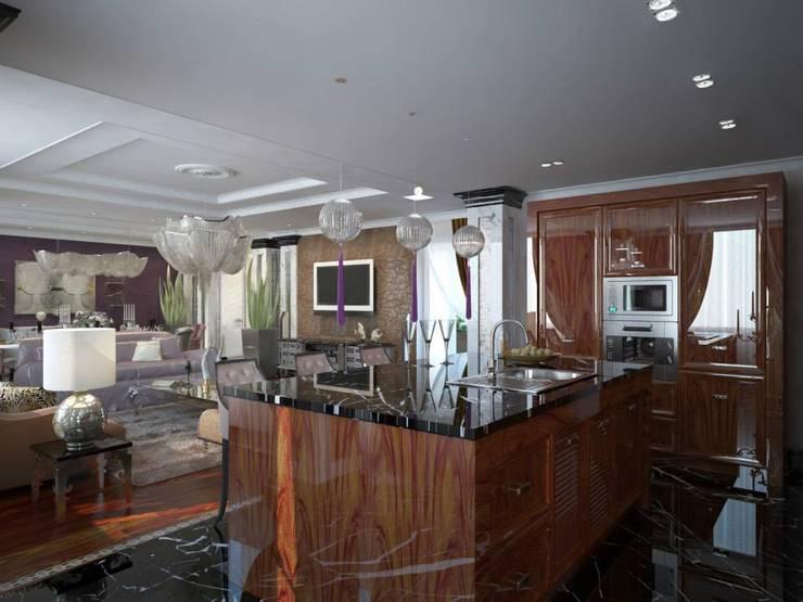 Проект квартиры в Саратове в стиле эклектики: Кухни в . Автор – Студия авторского дизайна БОН ТОН,