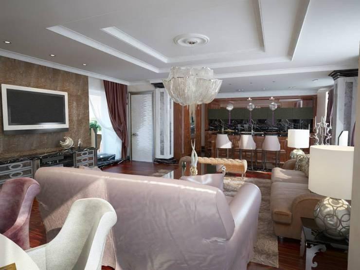 Проект квартиры в Саратове в стиле эклектики: Гостиная в . Автор – Студия авторского дизайна БОН ТОН,