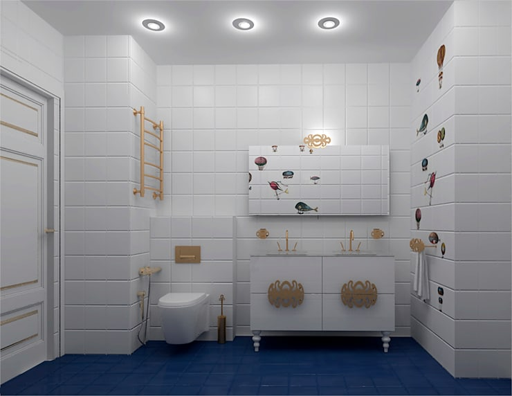 Детский санузел: Ванные комнаты в . Автор – ООО ПрофЭксклюзив Студия дизайна интерьеров