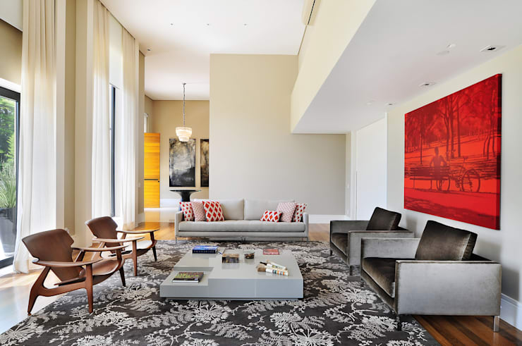 Salas de estilo  por BRENO SANTIAGO ARQUITETURA E INTERIORES