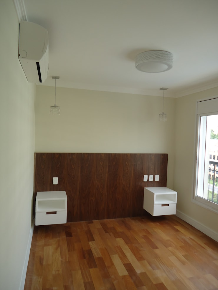 Apartamento tipo Cobertura Granja Julieta: Quartos  por VT Design - Arquitetura e Interiores,Rústico Madeira Efeito de madeira