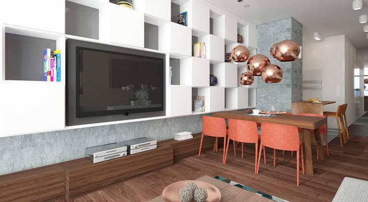 Qbik: styl , w kategorii Salon zaprojektowany przez FAMM DESIGN