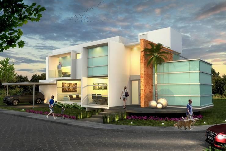 Fachada Principal, vista nocturna: Casas de estilo  por Milla Arquitectos S.A. de C.V.