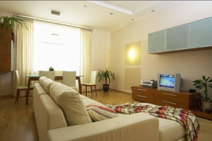 Реализованный проект интерьеров квартиры 124 кв. метра в ЖК Город солнца: Гостиная в . Автор – интерьеры от частного дизайнера