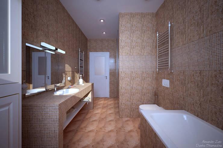 """Дизайн санузла в современном стиле  в ЖК """"Новый город"""": Ванные комнаты в . Автор – Студия интерьерного дизайна happy.design,"""