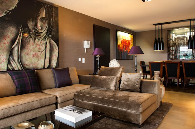 Casa em Open Space: Sala de estar  por Pureza Magalhães, Arquitectura e Design de Interiores