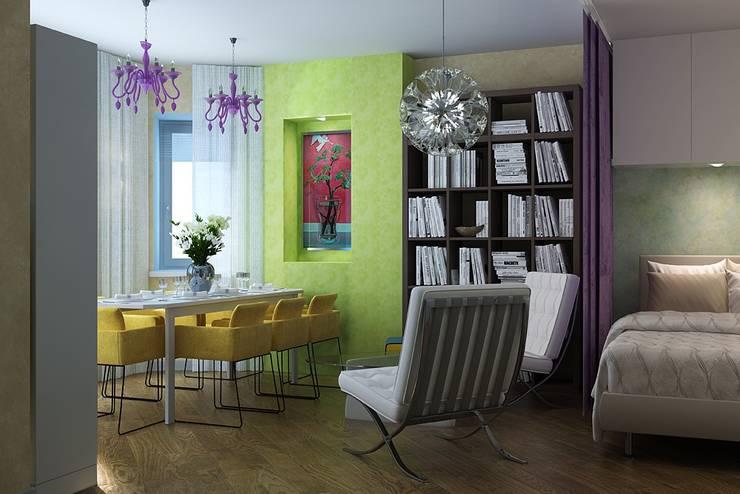 The project is a one-room apartment.: Гостиная в . Автор – Design studio of Stanislav Orekhov. ARCHITECTURE / INTERIOR DESIGN / VISUALIZATION.,