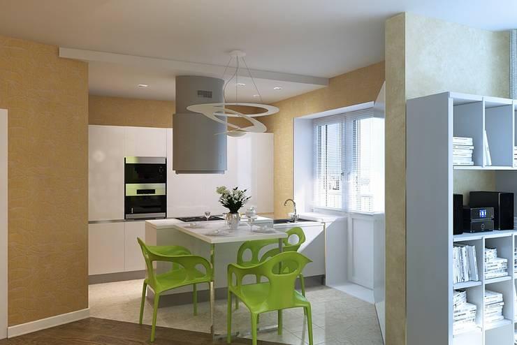 The project is a one-room apartment.: Кухни в . Автор – Design studio of Stanislav Orekhov. ARCHITECTURE / INTERIOR DESIGN / VISUALIZATION.,