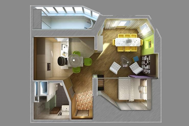 The project is a one-room apartment.: Дома в . Автор – Design studio of Stanislav Orekhov. ARCHITECTURE / INTERIOR DESIGN / VISUALIZATION.,