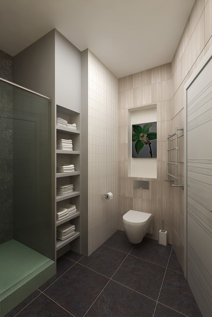 The project is a one-room apartment.: Ванные комнаты в . Автор – Design studio of Stanislav Orekhov. ARCHITECTURE / INTERIOR DESIGN / VISUALIZATION.,