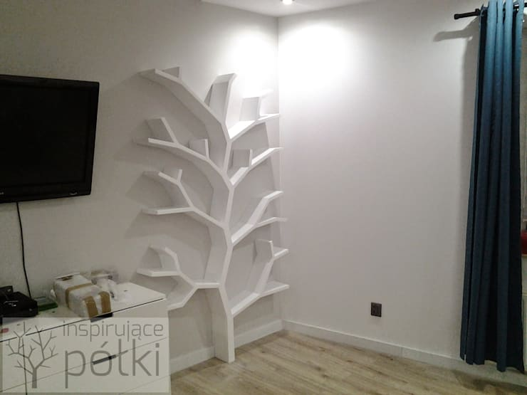 Półka drzewo 210x130x18cm: styl , w kategorii Sypialnia zaprojektowany przez INSPIRUJĄCE PÓŁKI