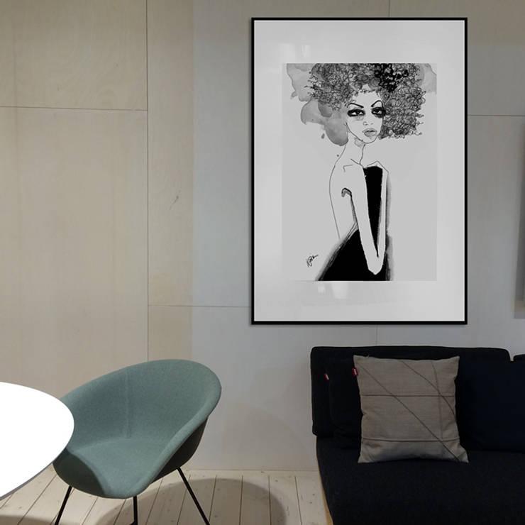 Obraz rysunek węgiel-akwarela rama aluminiowa z passe-partout 100x70cm: styl , w kategorii Sztuka zaprojektowany przez Iwonabilska