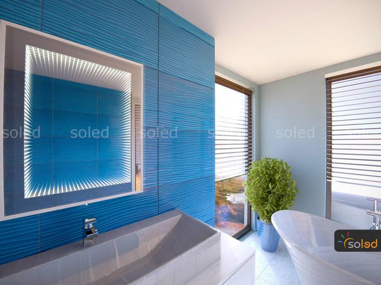Lustro 3D LED na wymiar - Soleda Mirror: styl , w kategorii Łazienka zaprojektowany przez SOLED Projekty i Dekoracje Świetlne Jacek Solka,