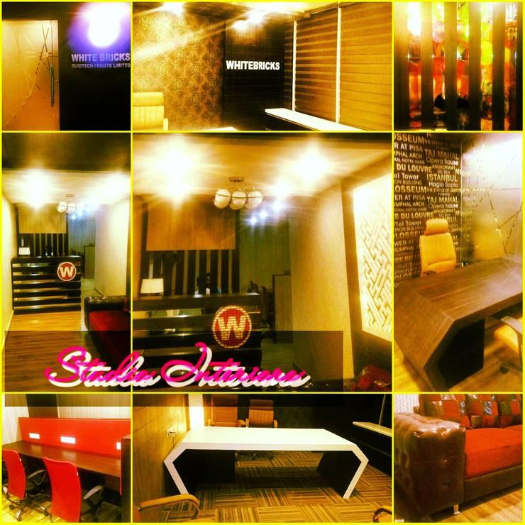 White Bricks Office:  Study/office by Studio Interiors Infra Height Pvt Ltd