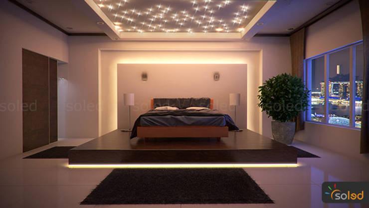 غرفة نوم تنفيذ SOLED Projekty i Dekoracje Świetlne Jacek Solka
