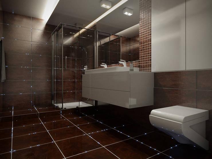 Oświetlenie światłowodowe w fugach w łazience: styl , w kategorii Łazienka zaprojektowany przez SOLED Projekty i Dekoracje Świetlne Jacek Solka