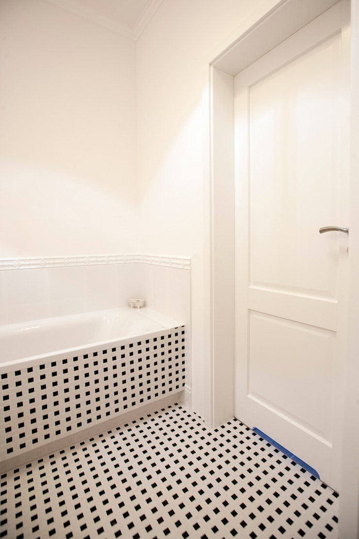 Jasnodworska - salon kąpielowy: styl , w kategorii Łazienka zaprojektowany przez ABU Wnętrza,Skandynawski