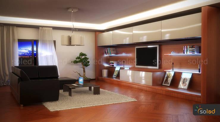 Półki szklane z podświetleniem LED – LED-illuminated shelves: styl , w kategorii Salon zaprojektowany przez SOLED Projekty i Dekoracje Świetlne Jacek Solka